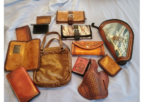Handmade Leather Items: Wallets Purses Holster Case