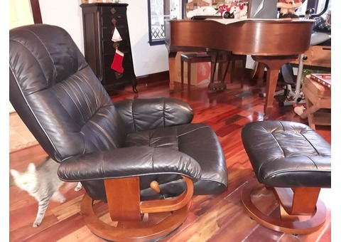 Leather Swivel Recliner and Ottoman